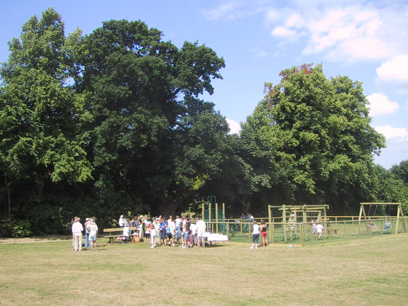 The first Playground on the Rec on the day of its opening, July 1st, 2001.