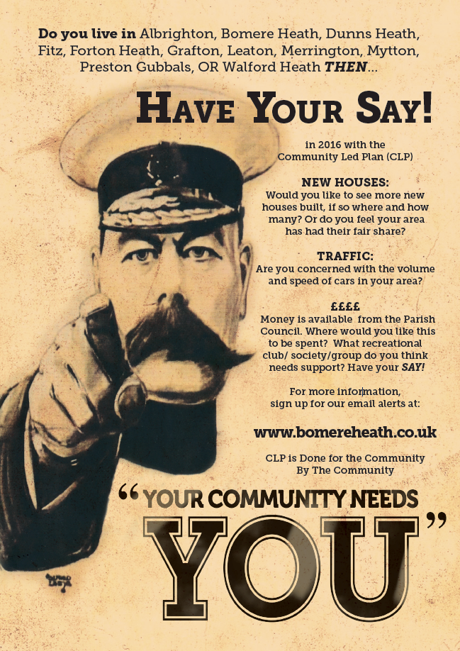 Bomere Heath Parish Council HAVE YOUR SAY! Poster