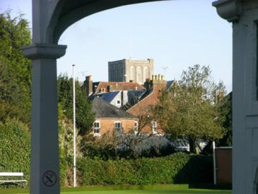 Winchester Cathedral seen from Friary clubhouse