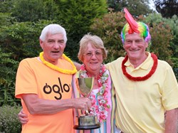 Joint cup winners David Foy and David Linney (great hair style!) with Pam