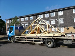 The roof arrives!