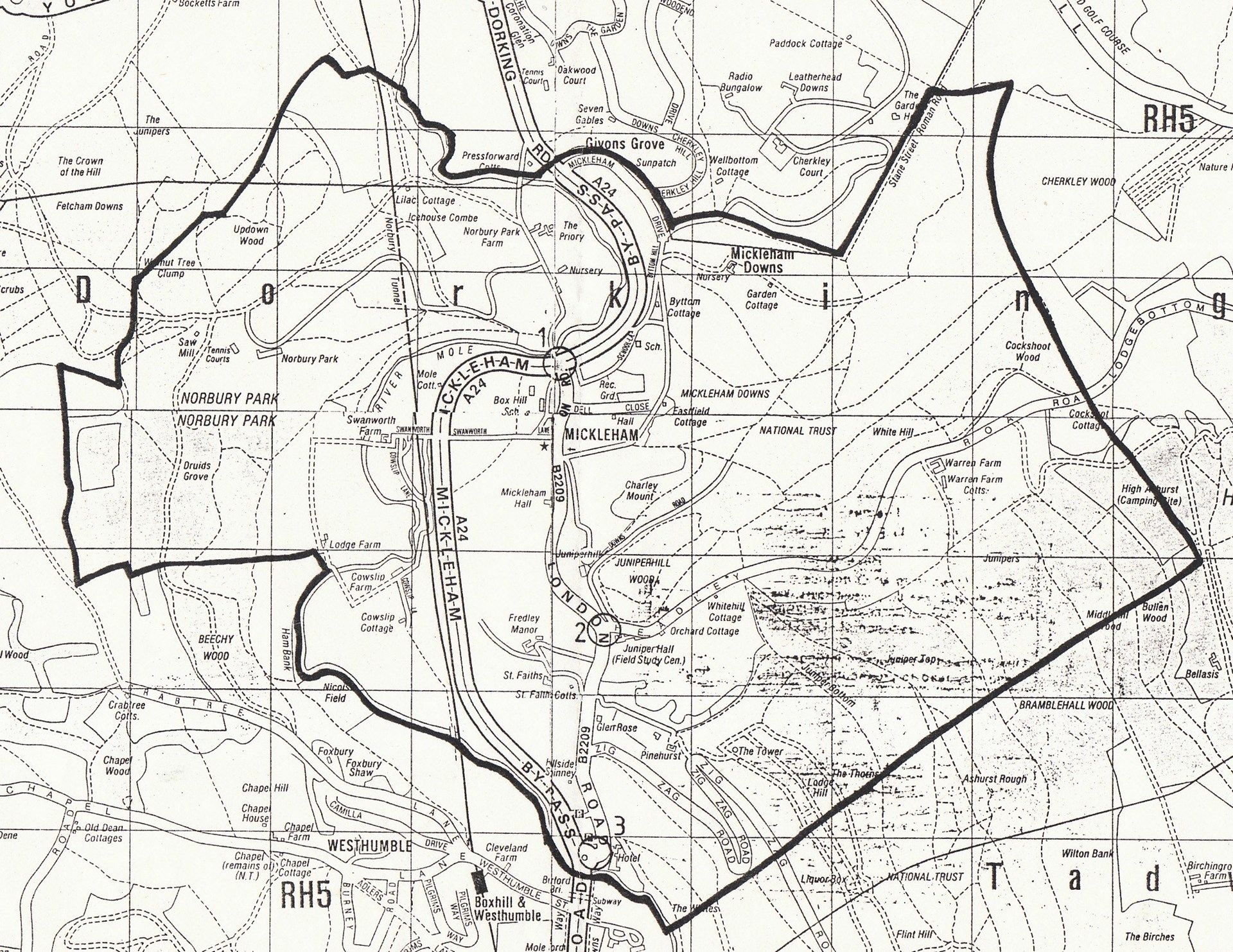 Map of the boundary of Mickleham Civil Parish.  The Parochial Church Parish also includes Westhumble, to the south.