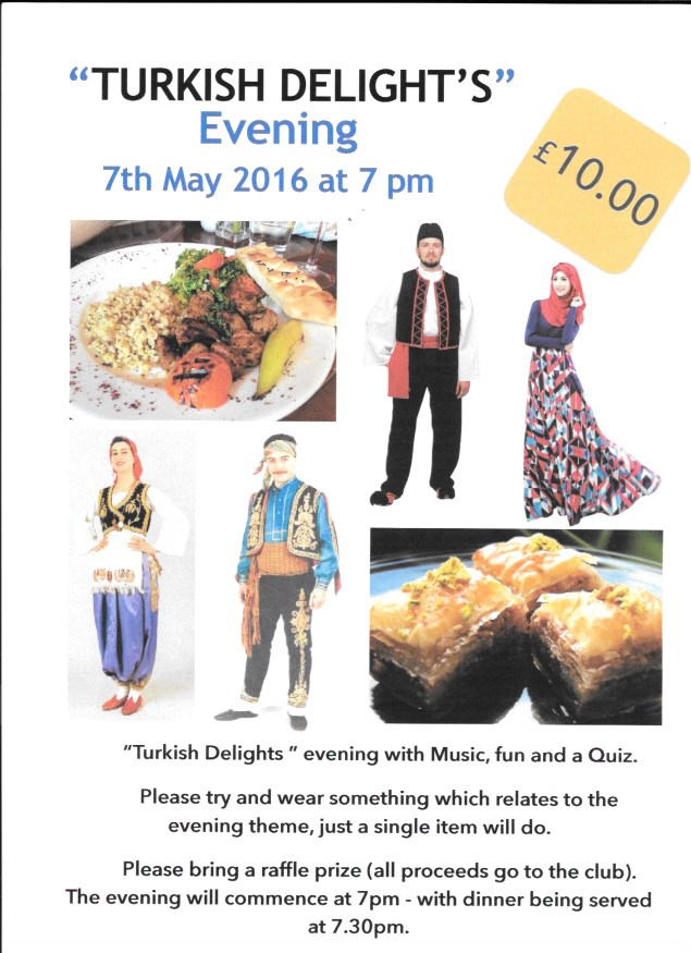 "Bournemouth Bowling Club ""Turkish Delight"" Evening Sat 20th May"