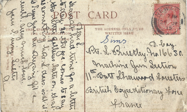 Post card to Pte Leonard Priestley from his sister, Alice