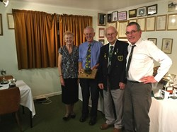 Mens 2 Wood Champion Derek Place (Blue Shirt) with Club  Presidents and Chairman