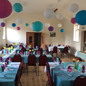 Hall decorated for a wedding reception