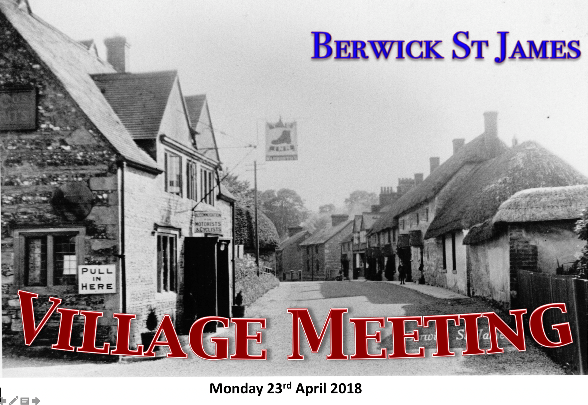 Berwick St James Parish Village Meeting - 23 April 2018