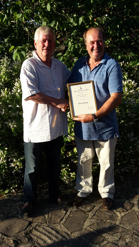 David Furness presenting Don Gray with his Civic Award