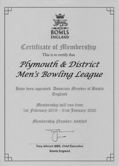 Plymouth & District Mens Bowling League Membership Certificate