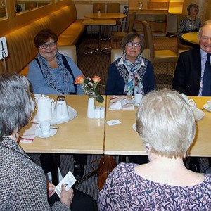 The 2017 Lunch for volunteers at South Downs College. l to r around the table: Shirley, Polly and Ian.